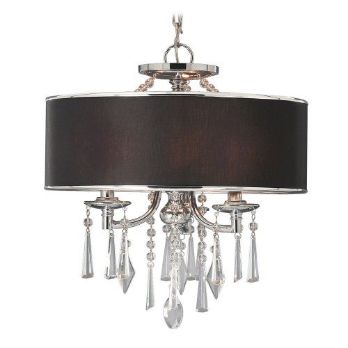 B00386ZKUS Golden Lighting 8981SFGRM  Convertible Semi Flush Mount with Black Tuxedo Shades,  Chrome Finish