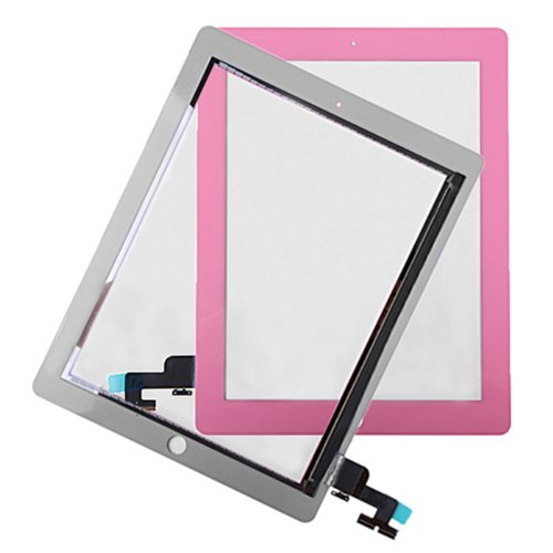 Hde Ipad 2 Digitizer Touch Screen Replacement Parts W/ 7 Piece Tool Kit And Adhesive Tape (Pink)