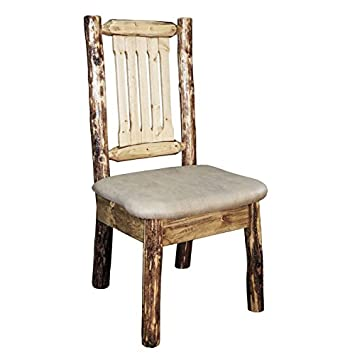 Glacier Country Side Chair with Upholstered Buckskin Pattern Seat