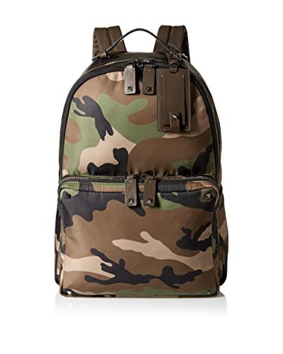 Valentino Men's Nylon Camouflage Backpack, Green/Black