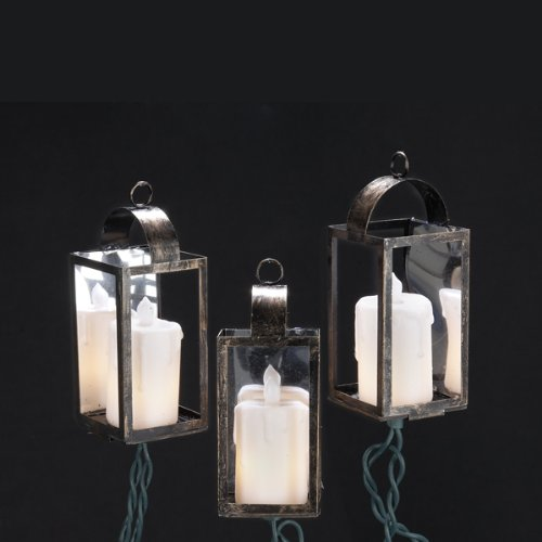 Kurt Adler 10-Light Brass Lantern with Candles Light Set