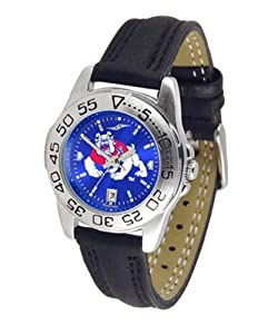 NCAA Fresno State Bulldogs Ladies Sport Leather AnoChrome Watch by SunTime