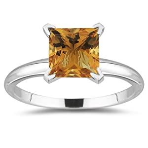 1.65 Cts of 7 mm AA Princess Citrine Solitaire Ring in 14K White Gold-6.5