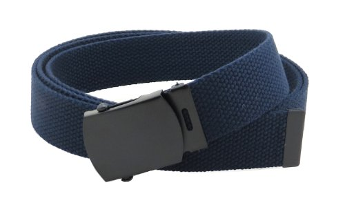 """Canvas Web Belt Military Style with Black Buckle and Tip 56"""" Long Many Colors (Navy)"""