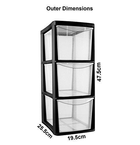 3-drawer-medium-tower-storage-draw-plastic-school-office-home-heavy-duty-new-black