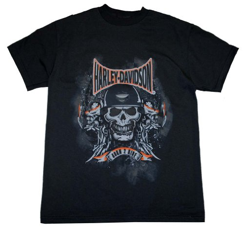 Harley-Davidson Big Boys' Skull Embossed H-D T-Shirt Black 0294184 (Small)