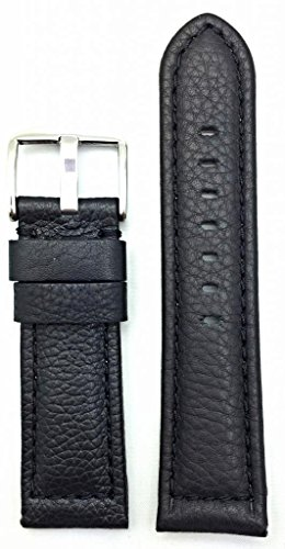 24Mm Black, Panerai Style, Smooth Soft Leather Watch Band