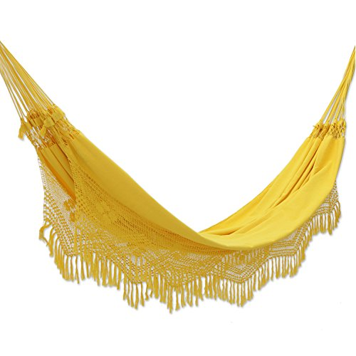 Cotton hammock, 'Amazon Sun' (double) – Artisan Crafted Cotton Solid Yellow Fabric Hammock