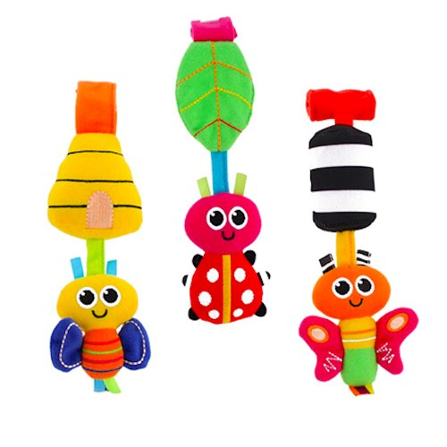 SASSY GO-GO BUGS, Fun Butterfly, Bee and Ladybug Detachable Educational Toys for a carrier, car seat or stroller