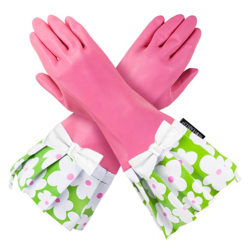 Fantastic Deal! PINK GLOVEABLES, GREEN FLOWER TRIM, WHITE BOW