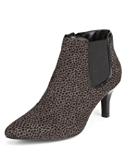 M&S Collection Pointed Toe Leopard Print Ankle Boots with Insolia®