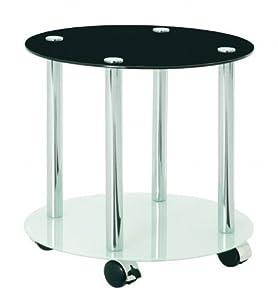 Beistellwagen Beistelltisch Glastisch Tisch mit Schwarzglas FREIBURG rund