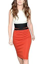 Miusol Women's Celebrity Midi Contrast Bodycon Pencil Dress