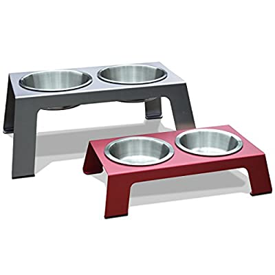 """PetFusion Elevated Pet Feeder in Premium Anodized Aluminum (Short 4"""", Gray). Includes 3rd bowl, shallow 1.1"""""""