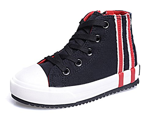 Legend E.C Anti-Slip Kids' High Top Canvas Shoes Cool Skateboard Sneakers For Boys And Girls (10, Black)