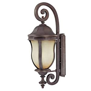 Savoy House Lighting KP-5-300-ES-40 Monticello Collection 28-inch Outdoor Energy Star Wall Mount Lantern, Walnut Patina Finish with Tuscan Glass