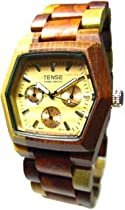 Tense Multicolored Inlaid Wood Watch - Mens Triple Dial Hexagon G8303I (Light Face)
