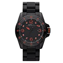 Marc by Marc Jacobs Mens Diver Silicone Black Red Jewelry Watch MBM2571