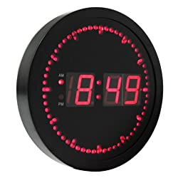 eHealthSource Big Digital LED Wall Clock with Circling LED second indicator - Round Shape / 10 Red LED