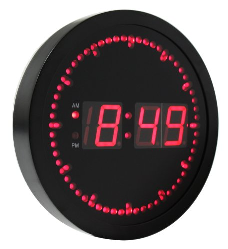 eHealthSource Big Digital LED Wall Clock with Circling LED second indicator - Round Shape / 10