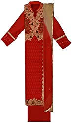 Krati Collection Women's Cotton Unstitched Dress Material (Red)