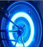 カスタム仕様!! バルブキャップ LEDライト 照度センサー内臓  4個セット オリジナル滑り止めマット付 電飾 車 バイク タイヤ 自転車 にも (ブルー)