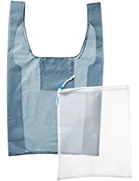 Bagibobs Reusable Grocery & Produce Bag Set - THREE Grey Reusable Shopping Bags + TWO BONUS Mesh Produce Bags