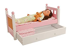 For 18 inch American Girl Doll Single Bed and Trundle Furniture With ONE Mattress and Pink Bedding