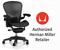 Hot Sale Herman Miller Aeron Chair Highly Adjustable with PostureFit Lumbar Support with Translucent H9 Hard Floor Casters - Large Size (C) Graphite Dark Frame, Tuxedo Grey Black Pellicle Suspension Material Home Office Desk Task Chair