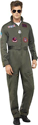Smiffy's - Costume deluxe per travestimento da Top Gun, Uomo, incl. tuta, medagliette e occhiali da sole, M
