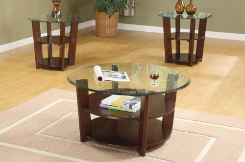 3 Pc. Set Solid Wood Coffee Table with 2 End Tables 8mm Beveled Glass Top with Two Shelves in Espresso Finish (Wood Coffee Table Set Of 3 compare prices)