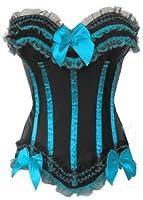 Burlesque - Turquoise Stripe Corset / Basque Fancy Dress Costume Boned Lingerie from Burlesque