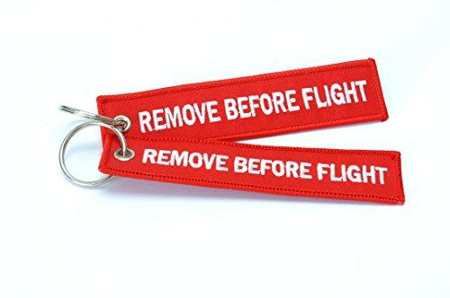 """Remove Before Flight """", con anello Portachiavi/etichetta per bagagli, confezione da 2, colori assortiti rosso"""