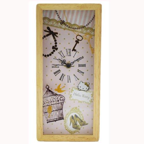 Antique wood frame clock (set clock) Hello Kitty