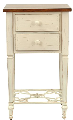 Safavieh American Home Collection Dorset Antique White and Dark Brown Two Drawer End Table 2