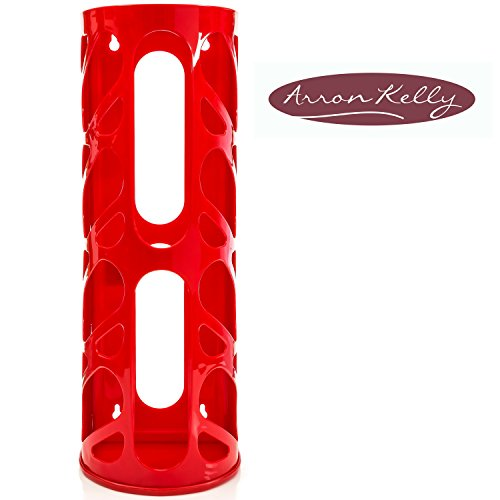 Oval Organizer - Wall Mounting Plastic Grocery Bag Holder & Dispenser - multipurpose, hanging home storage container for kitchen, pantry, bathroom, shower, laundry room, office & garage - Red or Black (Hay Broom compare prices)