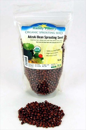 Organic Adzuki Sprouting Seeds - 1 Lb - Dried Adzuki Beans - Handy Pantry Brand - Sprouts & Sprouting, Soups, Recipes, Food Storage & More