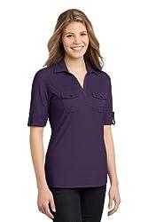 Port Authority Women's Double Pocket Polo, Large, Purple