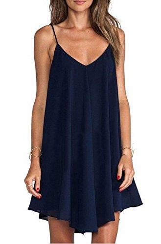 LILBETTER Women Summer Casual Sleeveless Evening Party Beach Dress Short Mini Dress(Blue S)