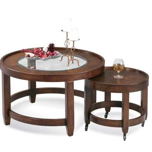 Bassett Mirror Moldular Mates Nested Round Cocktail Table In Mahogany
