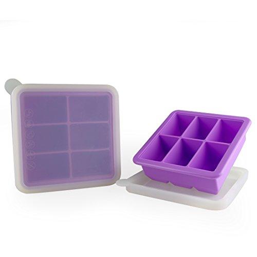MIREN 6 Cube Premium Silicone Ice Cube Tray with Lid, Set of 2, Macaron Purple