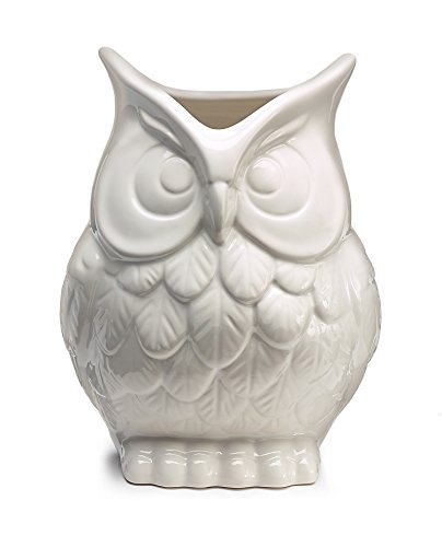 White Ceramic Owl Vase Decorative Vase For Owl Lovers Home