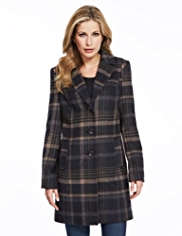 M&S Collection Checked Coat with Wool