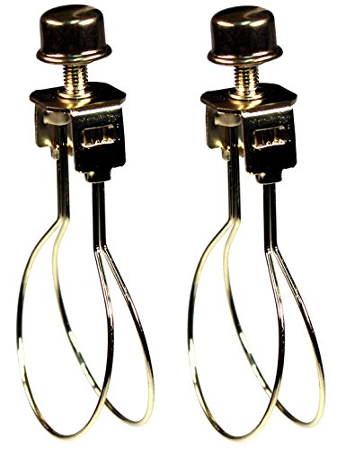 Creative Hobbies® 2 Pack -Lamp Shade Light Bulb Clip Adapter Clip on with Shade Attaching Finial Top, Gold Color