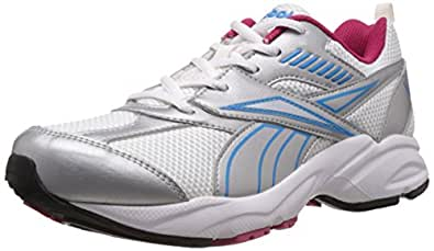 Reebok Women's Active Sport II LP White, Silver, Blue and Pink Running Shoes - 4 UK