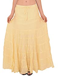 Skirts & Scarves Womens Casual 100% Cotton Long Maxi Skirt (Yellow)