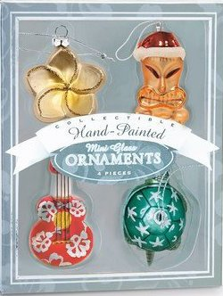 Mini Hawaiian Island Glass Christmas Ornament Set