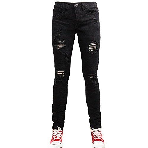 Toocool - Jeans uomo pantaloni ripped strappi strappati slim fit aderenti nuovi RD1679 [44,nero]
