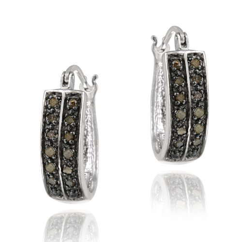 Sterling Silver 1/4ct Champagne Diamond 18mm Oval Hoop Earring