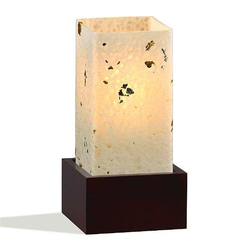 Yumeya Tischleuchte Kinpaku aus Glas, handgeschöpftem Japanpapier und Massivholz